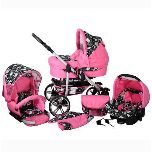 Matrix Rock Baby 3 in 1 combi pram pushchair stroller complete set with car seat rose & skull without Isofix base without parasol without winter footmuff