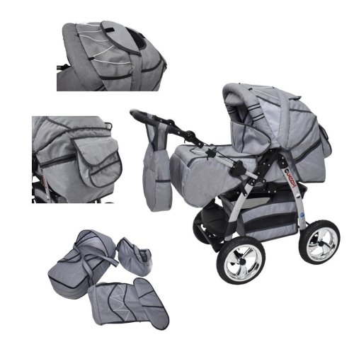 King 3 in 1 combi pram pushchair stroller complete set with car seat