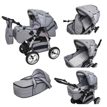 King 3 in 1 combi pram pushchair stroller complete set...