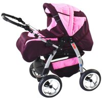 Blackberry & Fleece Pink with Isofix Base with wool winter footmuff with parasol