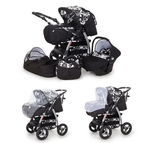 iCaddy 3 in 1 combi pram pushchair stroller complete set with car seat