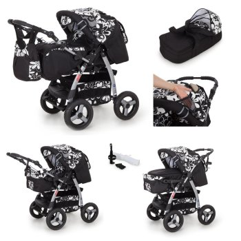 iCaddy 3 in 1 combi pram pushchair stroller complete set...