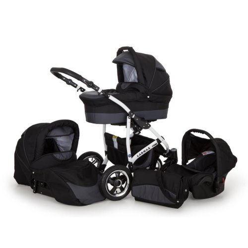Lux4Kids 3 in 1 Combi pram Pushchair Stroller Complete Set with car seat Isofix Larmax Silver Wave 3in1 with Baby seat