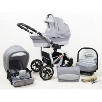 Lux4kids 3in1 Stroller Pram Buggy Car seat All in one Larmax  Silver Wave