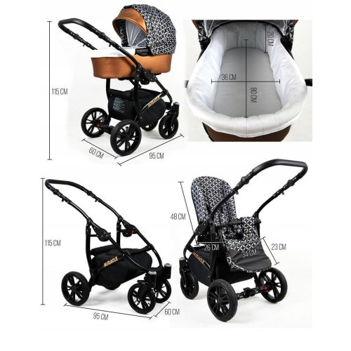 Lux4Kids Stroller 3in1 BlackOne Travelsystem 2in1 Buggy Car seat new