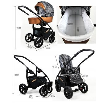 Lux4Kids Poussette 3in1 BlackOne Travelsystem 2in1 Buggy...