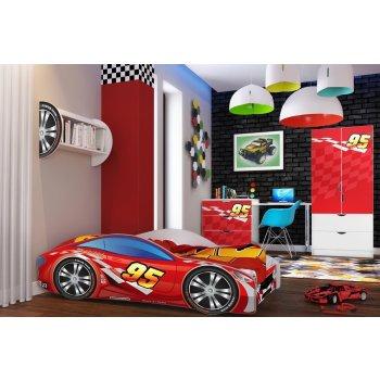 Lux4Kids Kinderbett Autobett Bett Schlafzimmer Spielbett mit Matratze Lattenrost