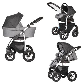 Travel System 3in1 Isofix Buggy Pram Carrycot Pushchair...