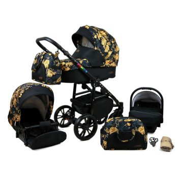 Colorlux Black 3 in 1 combi pram pushchair stroller...