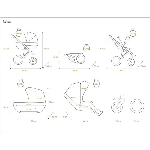 Stroller 3in1 2in1 Isofix pram set + accessories Color selection Rotax Black by ChillyKids