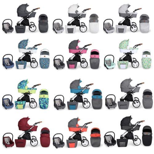 Stroller 3in1 2in1 Isofix pram set + accessories color selection Rotax White by ChillyKids