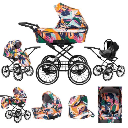 Retro stroller 3in1 2in1 Isofix combi stroller set + accessories Color selection Romantic Black by ChillyKids