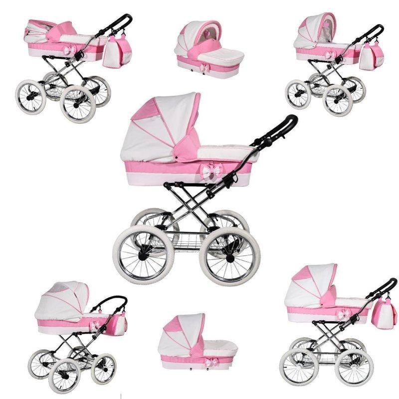 Kinderwagen 3in1 Retro Autositz Buggy Isofix Luftreifen Rosso by Saintbaby Light Pink 2in1 ohne Babyschale