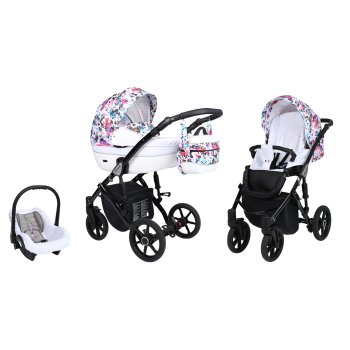 Lavado Black pram by Lux4kids Flori 05 3in1 with baby seat