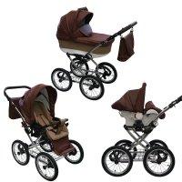 Retro stroller Classica Lux pneumatic tires chrome sunshade set car seat